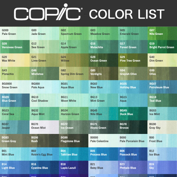 Copic Color Listing