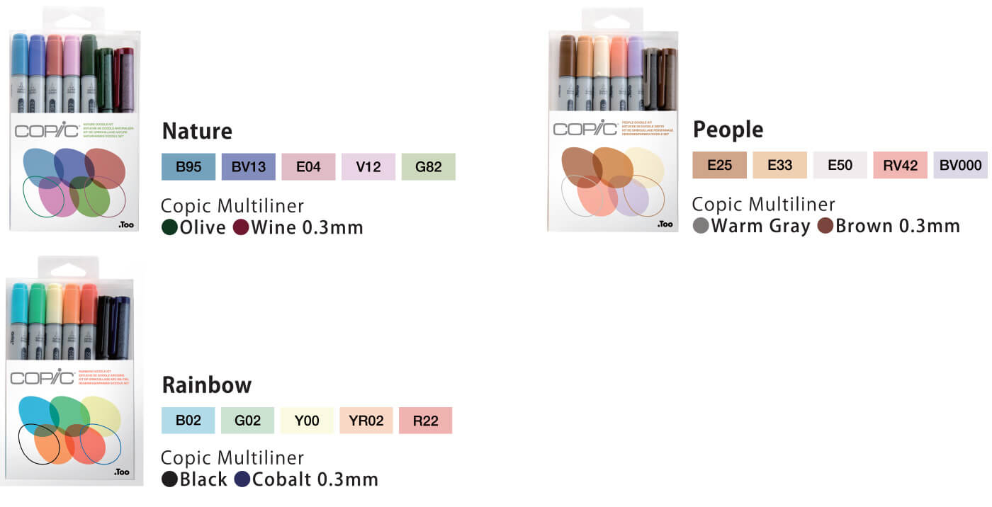 Copic Ciao Doodle kit : Color List