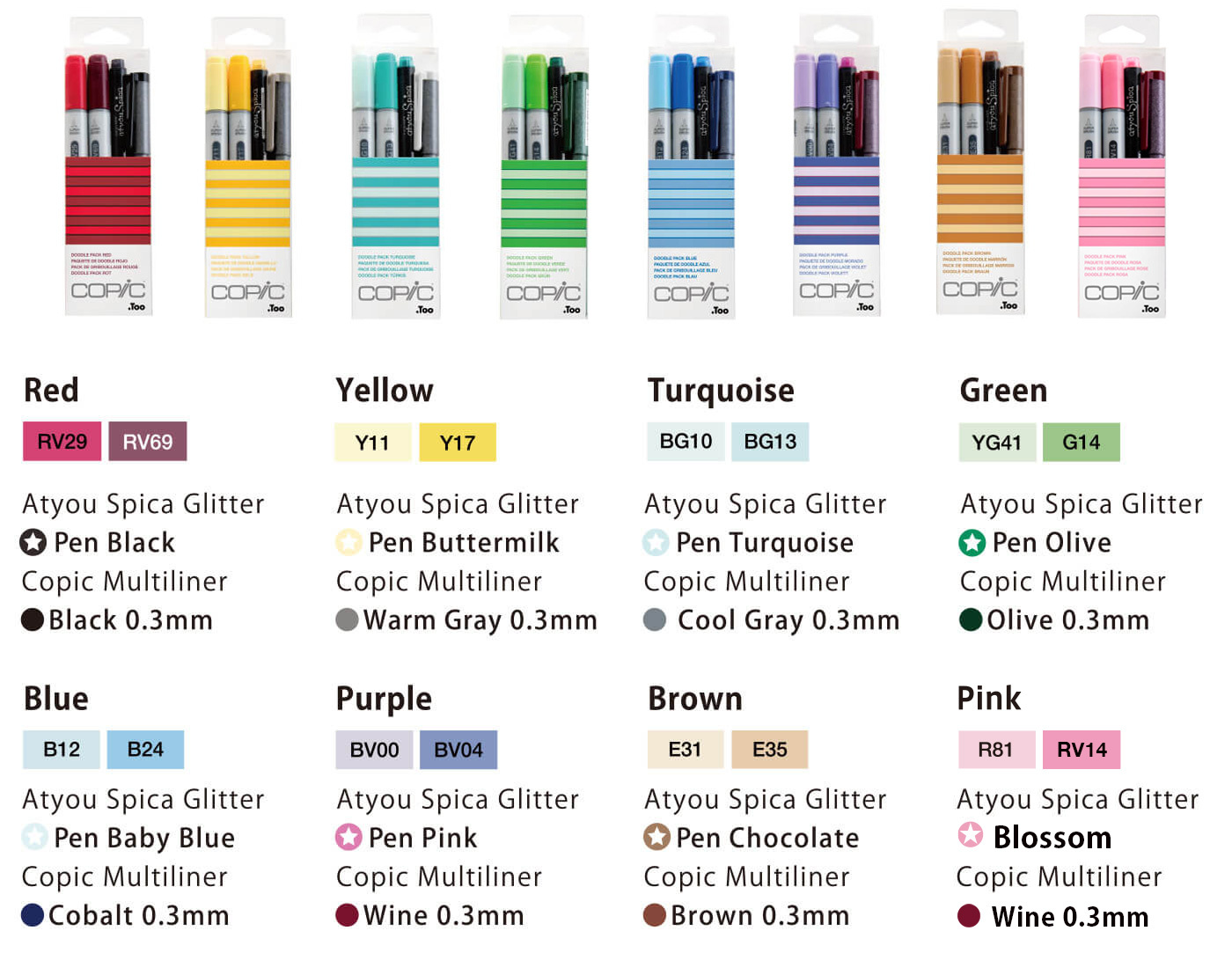 Copic Ciao Doodle pack : Color List