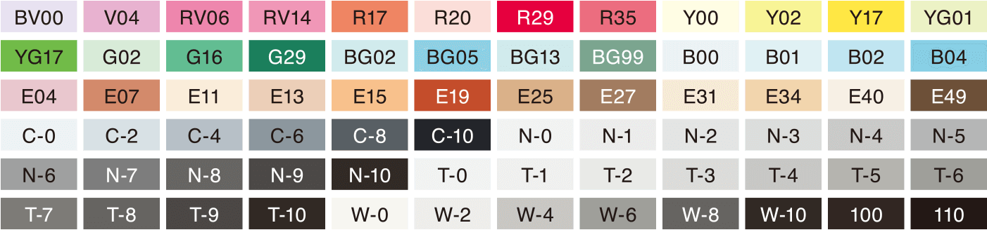 Copic Classic 72pc Color Set B : Color list