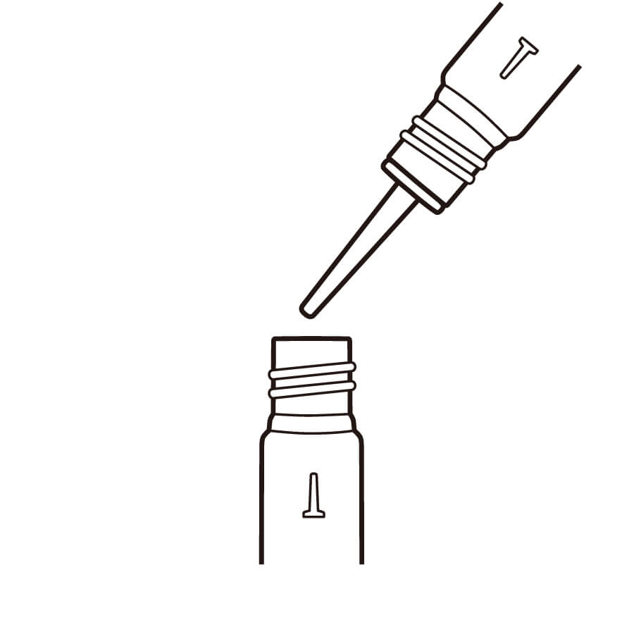 コピックインク空ボトルを使ってインクを調合し、好みの色を作ります。※ボトルの1目盛りは1ml