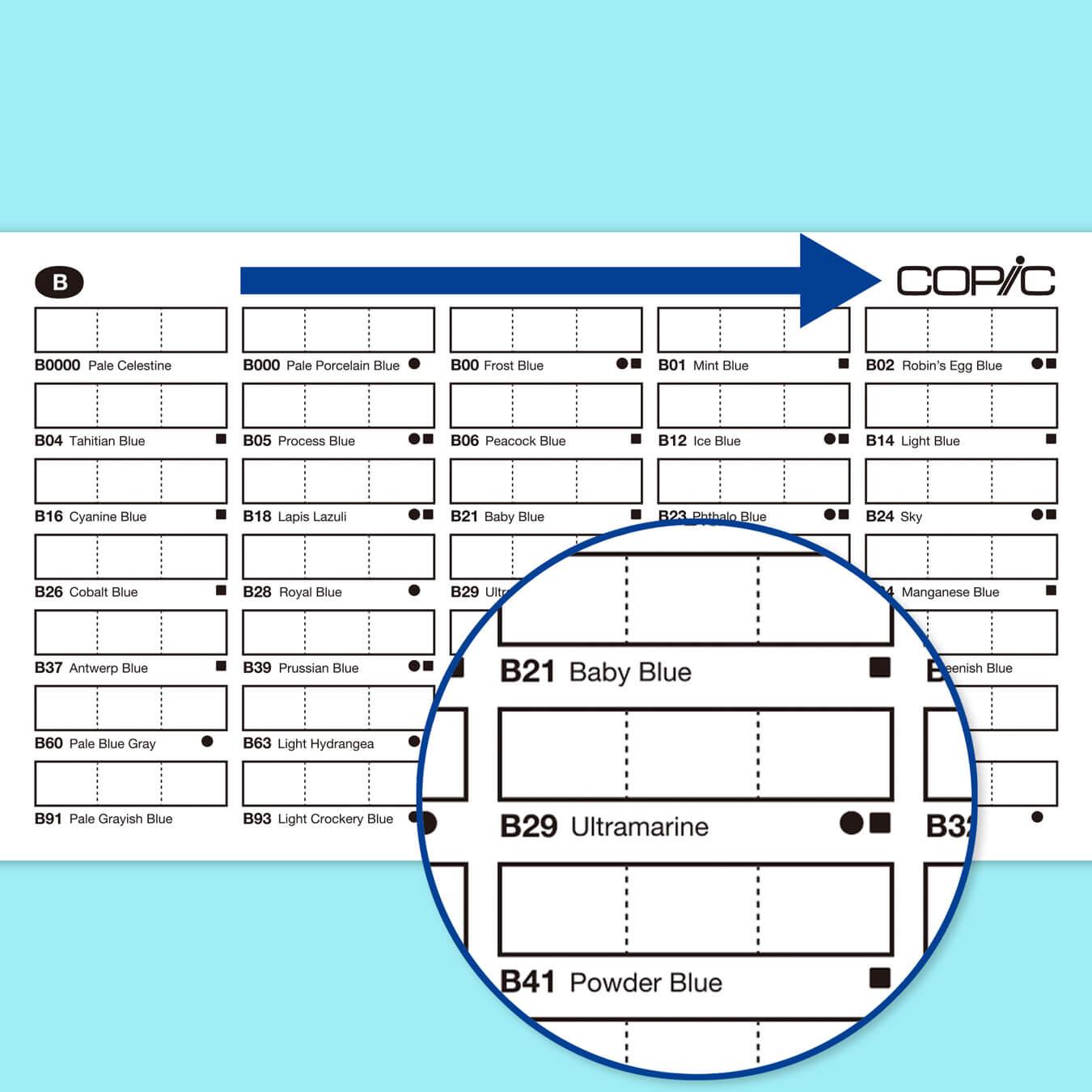 チャートボックスは色番号順に左から右に配置されています。●はコピックチャオ、■はコピッククラシックを表しており、コピックスケッチは358色全てが揃っています。